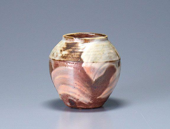 "Ken Matsuzaki, Vase, yohen shino glaze, stoneware, 5.75 x 6 x 6"""