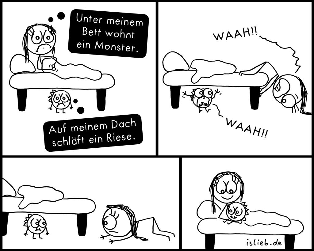 Unterm Bett Schlafen Einschlafen Niedlich Monster Islieb