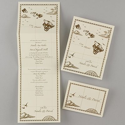 hawaii treasure map ecru z-fold - inv | treasure maps, beach, Wedding invitations