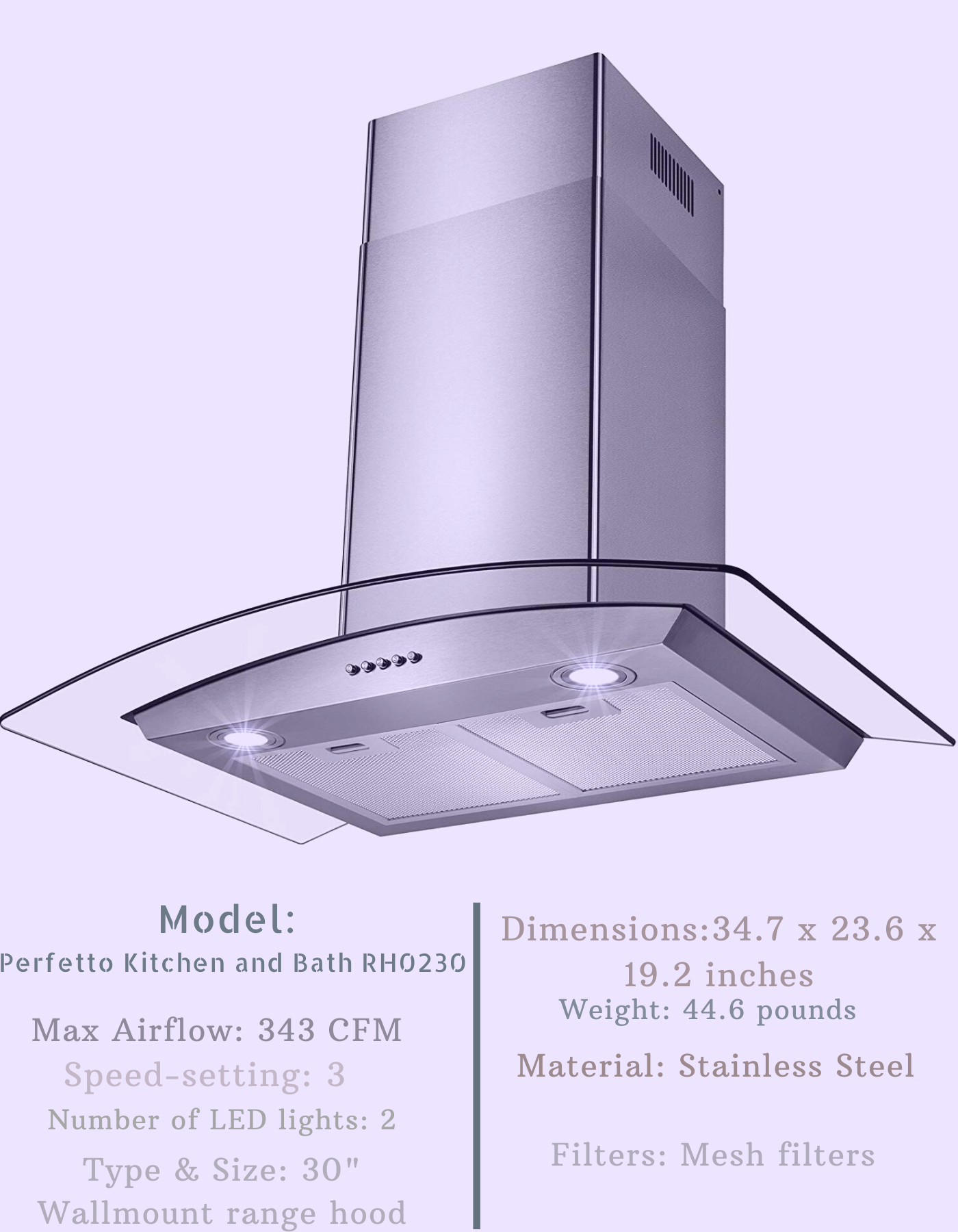 Perfetto Kitchen And Bath 30 Inch Range Hood Wall Mount Range Hood Range Hood Cool Walls