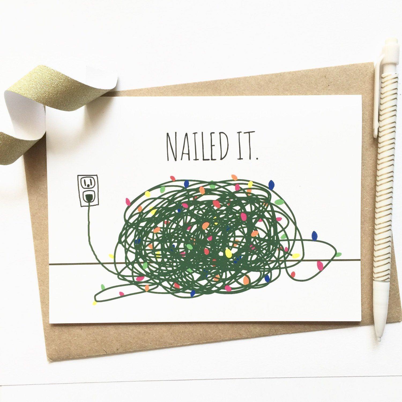 Funny Christmas Card Tangled Christmas Lights by