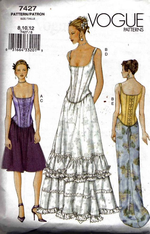 Vogue 7427 Sewing Pattern Corset Bustier Top and Skirt Formal Prom ...