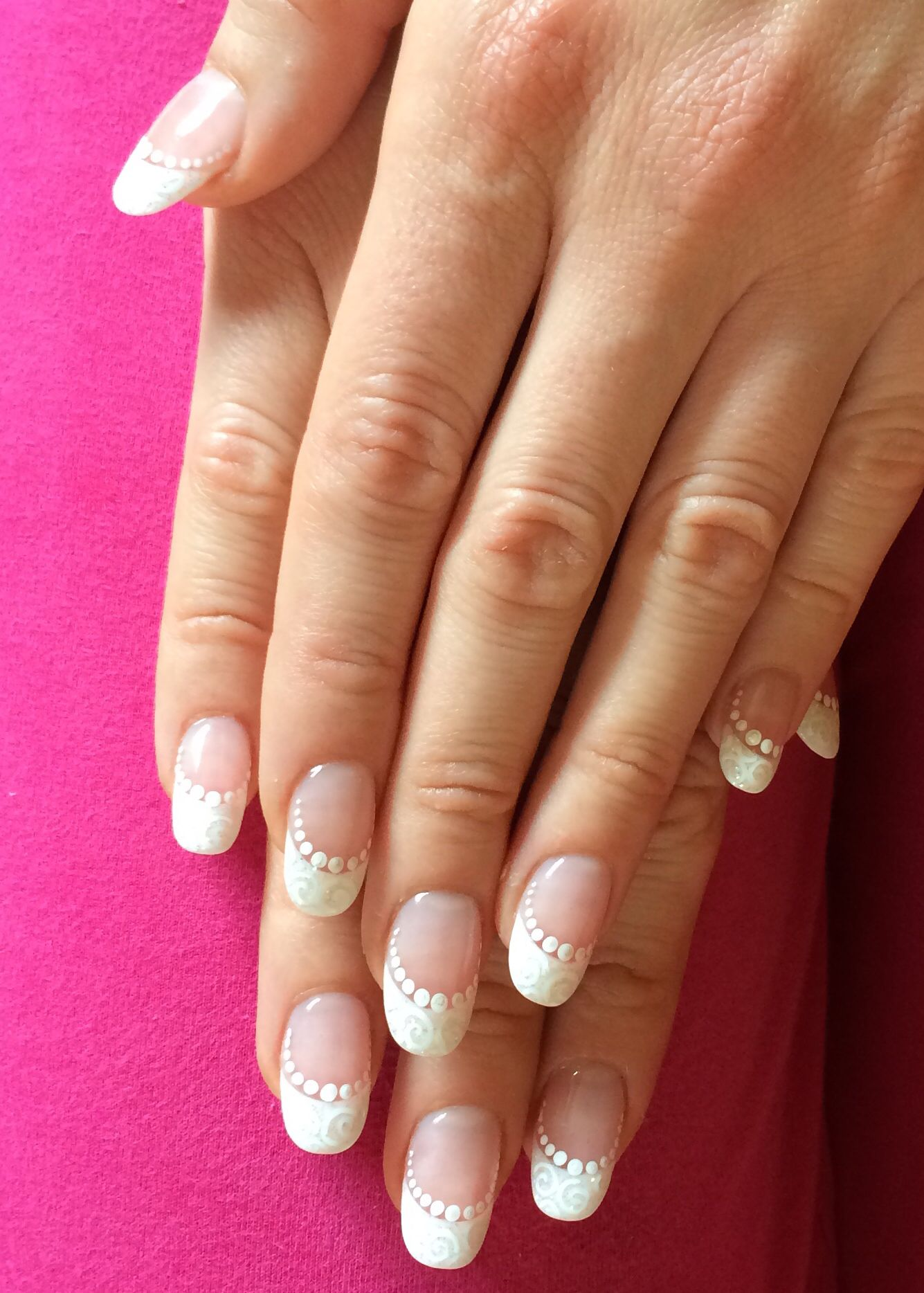 Oval nails, acrylic french nails, french nails with design, french ...