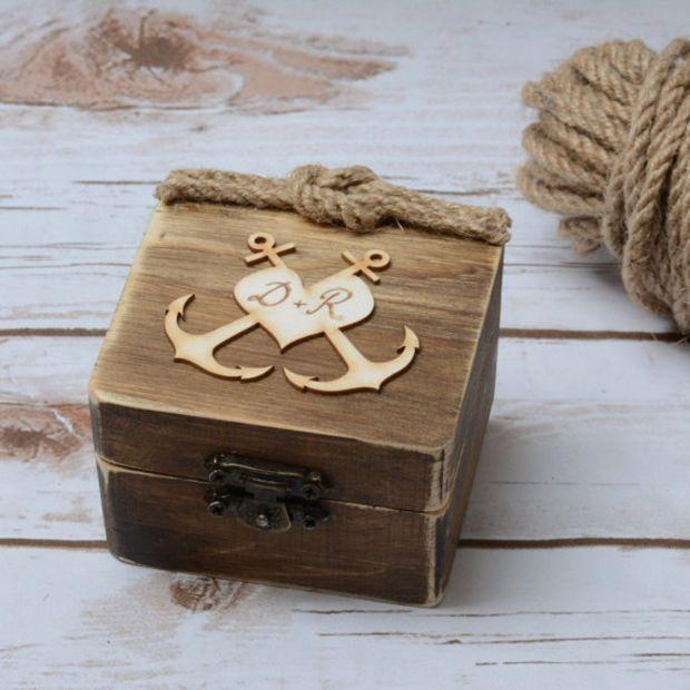 Wedding Ring Box Beach Starfish Ring Holder Wooden Ring Bearer