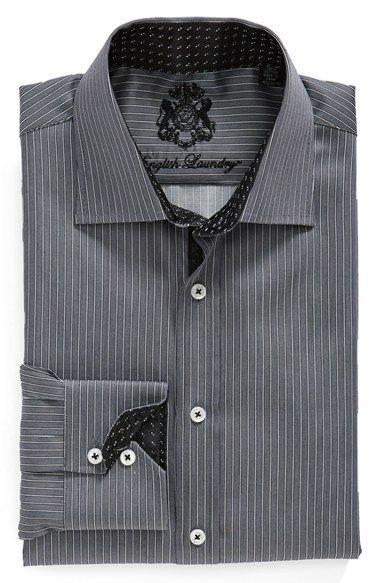 English Laundry Trim Fit Stripe Dress Shirt Mens Shirt Dress