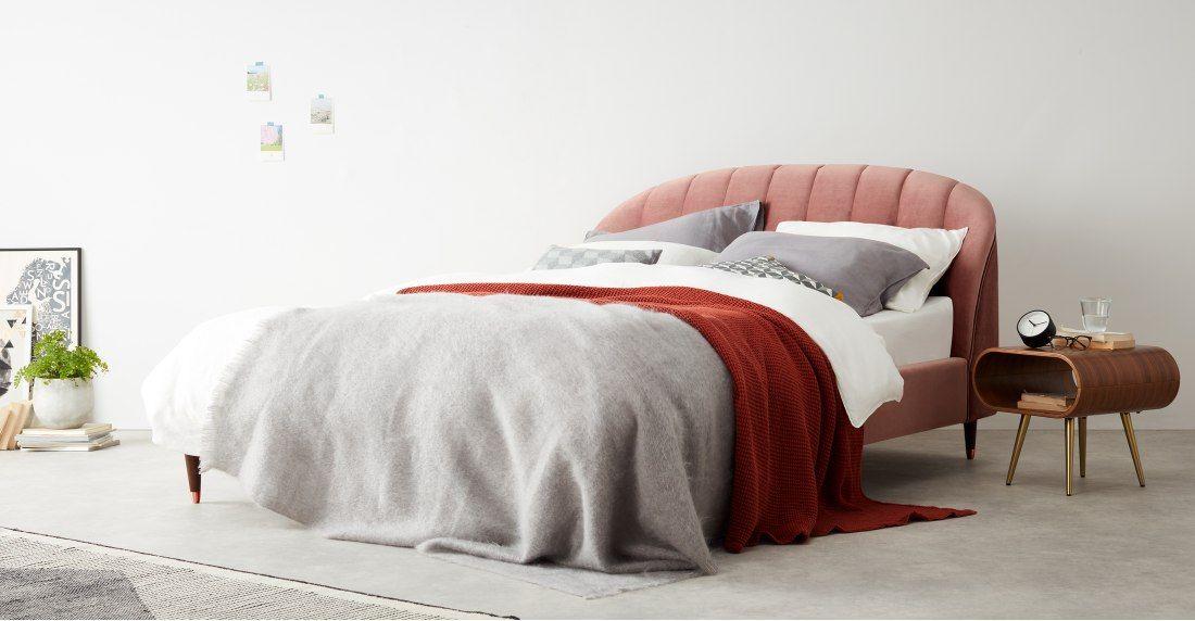 Made Blush Pink Velvet Upholstered Beds Super King Size Bed