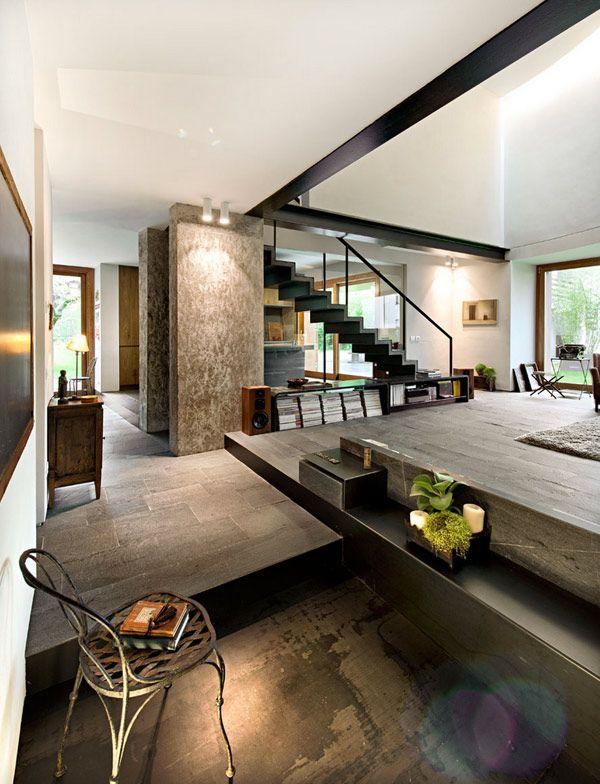 Sala e interiores residencial estilo industrial moderno for Interiorismo almazan