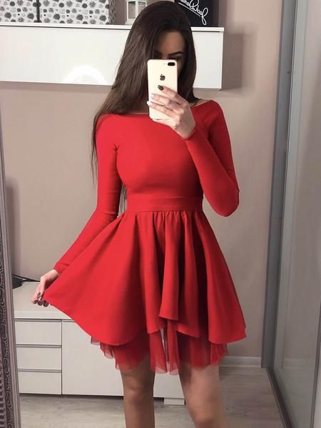 Red ,Off-shoulder Long Sleeves Simple Short Tulle Homecoming Dresses, Party dresses,dresses ,evening dresses