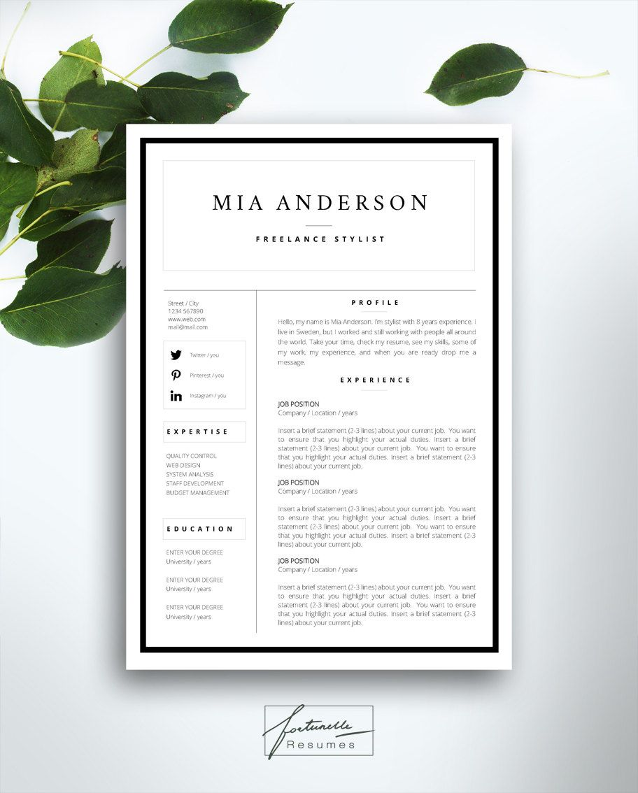 resume template 3 page    cv template   cover letter    instant download for ms word     u0026quot mia u0026quot