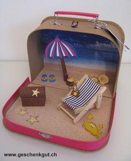 Geldgeschenk Reise Reisegutschein Koffer Ferien Urlaub Strand Meer