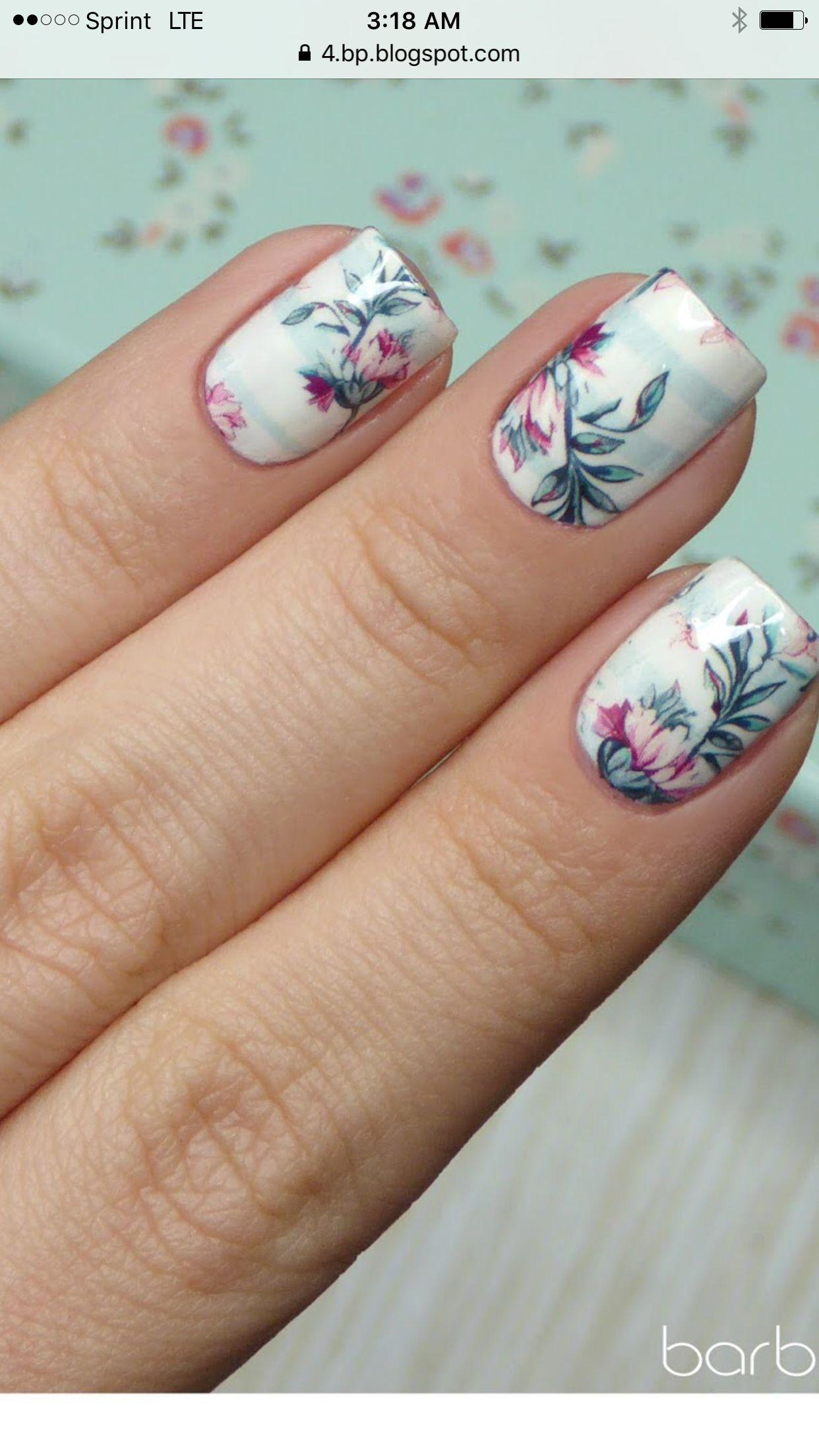 Floral stripe nails nail art ideas pinterest