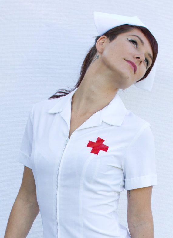 Nurse's Dress with Cap Vintage Costume by tattaratscat on Etsy, $160.00
