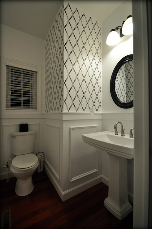 fabulous powder room with white wainscoting half walls and hardwood rh pl pinterest com