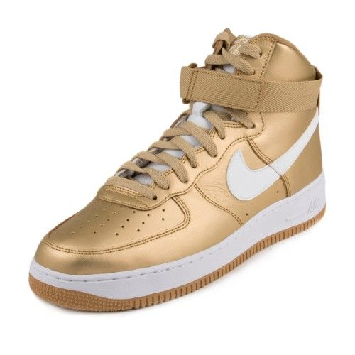 quality design 7af70 e11bc Nike Mens Air Force 1 High Retro QS Metallic (Grey) Gold-White 823297-700  Size 8.5, Men s