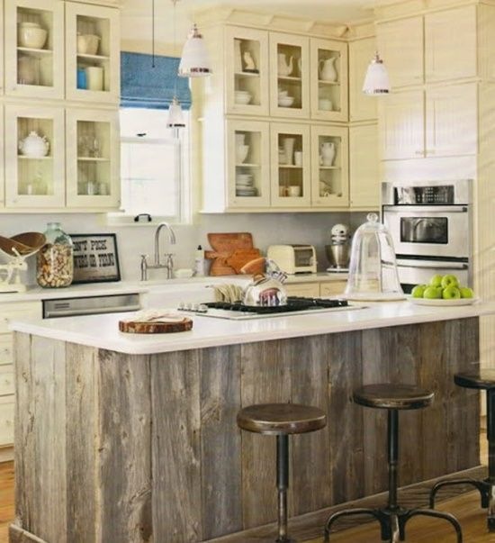 Knotty Pine Kitchen Cabinet Doors: Weathered Barn Wood Kitchen Island From