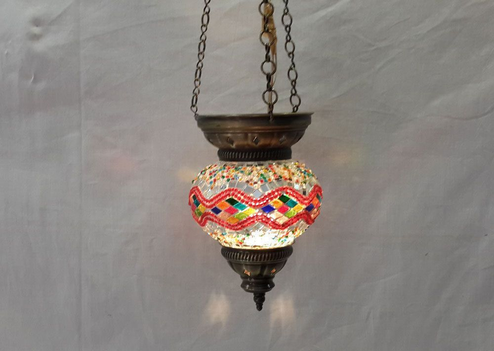 No reserve mosaic hanging lamp glass light candle holder turkish lanten 13 #Handmade #Moroccan