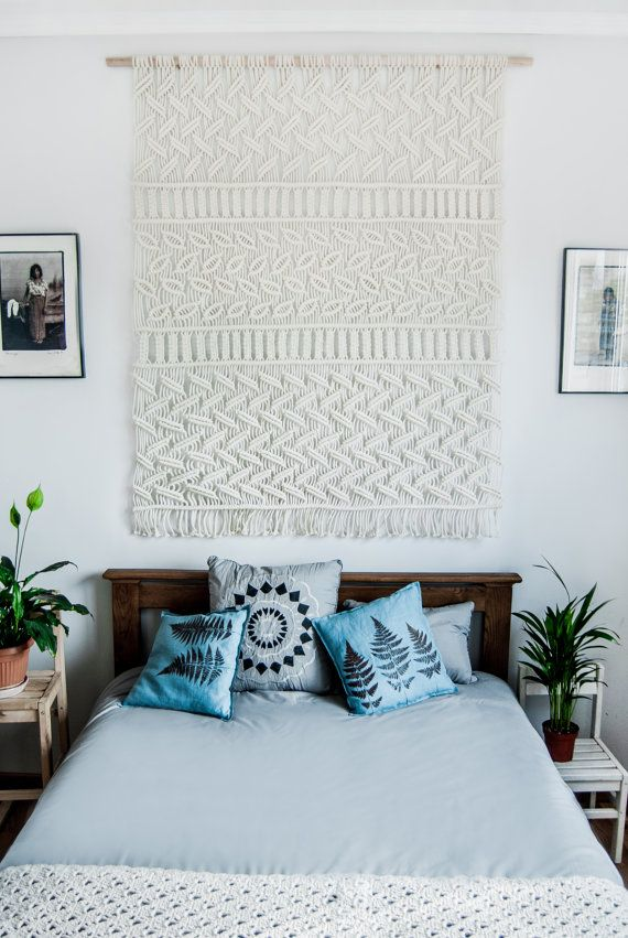 Large Macrame Wall Hanging Macrame Headboard Farmhouse Etsy In 2020 Wall Decor Bedroom Macrame Wall Hanging Macrame Headboard