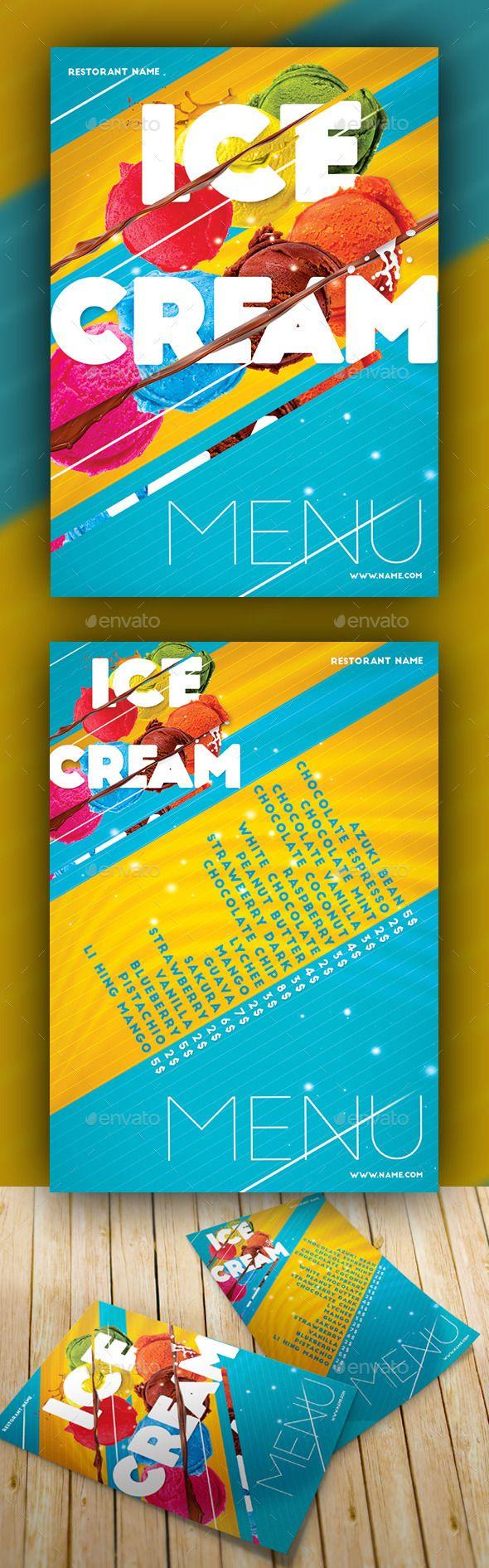 Ice Cream Menu Cut | Folletos, Publicitaria y Antojo