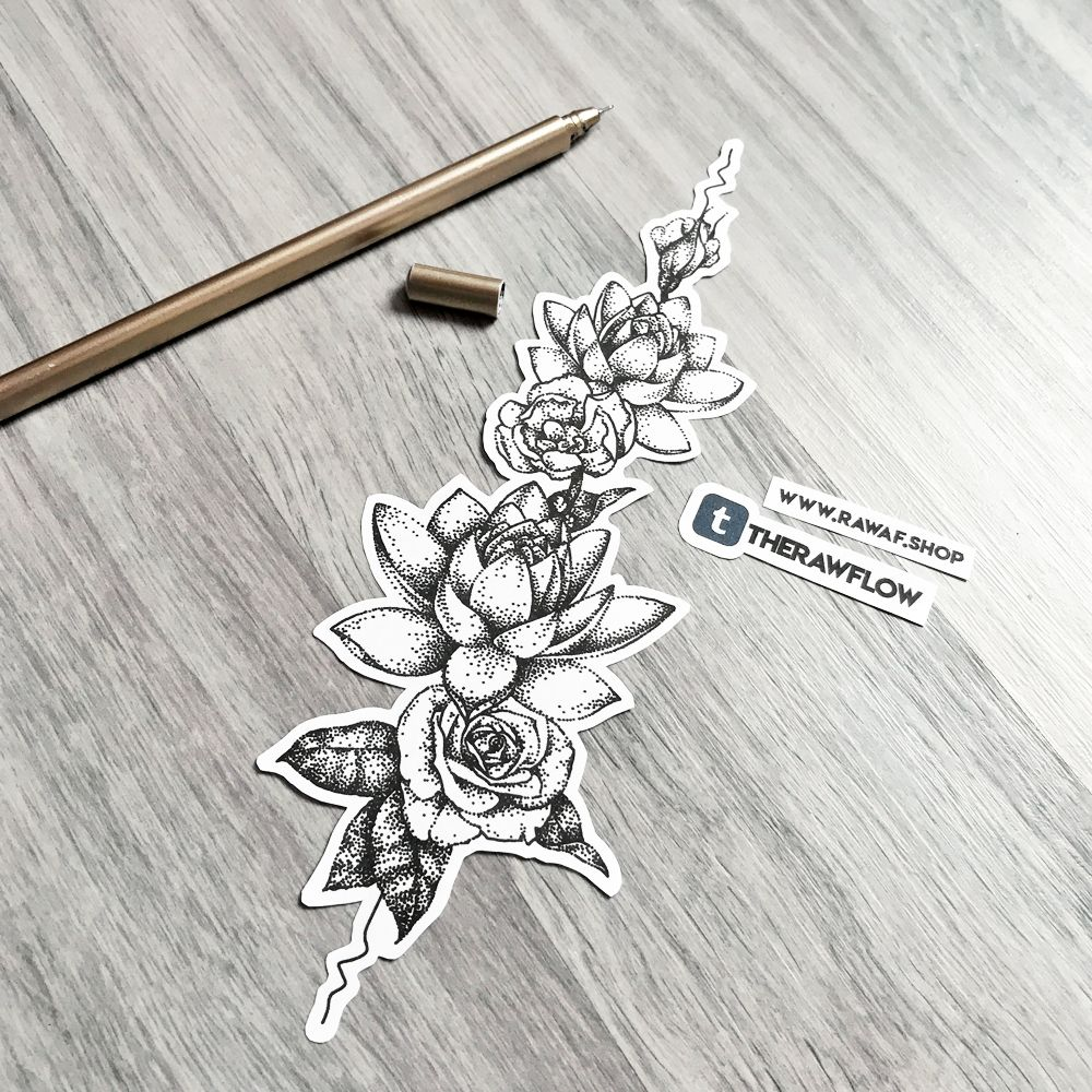 Dotwork Lotus Rose Flower Tattoo Design Commission For Seanna Commissions And More Info Www Rawaf Shop Or Flower Spine Tattoos Spine Tattoo Tattoo Pattern