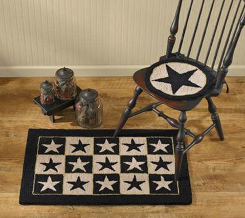 lack Star Hooked Rug and Chair Pad from Allyson's Place: https://allysonsplace.com/catalog.php. See more country products such as these in Country Sampler's January 2016 issue: https://www.samplermagazines.com/detail.html?prod_id=192&cat_id=8&source=PIN-FPJAN16