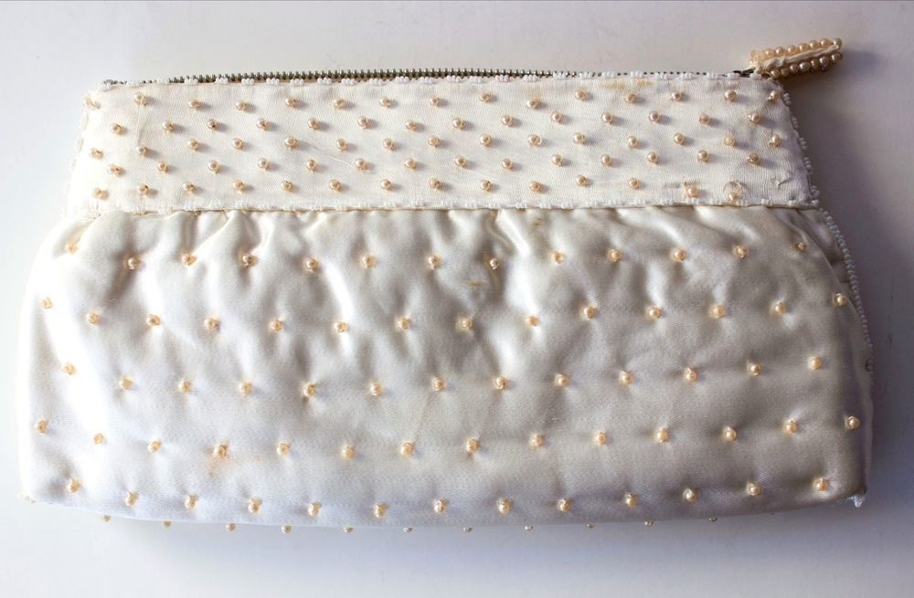 "TRUE VINTAGE Ivory SATIN BEADED CLUTCH PURSE Bag Wallet 10"" RETRO MOD CHIC #Unbranded #Clutch"