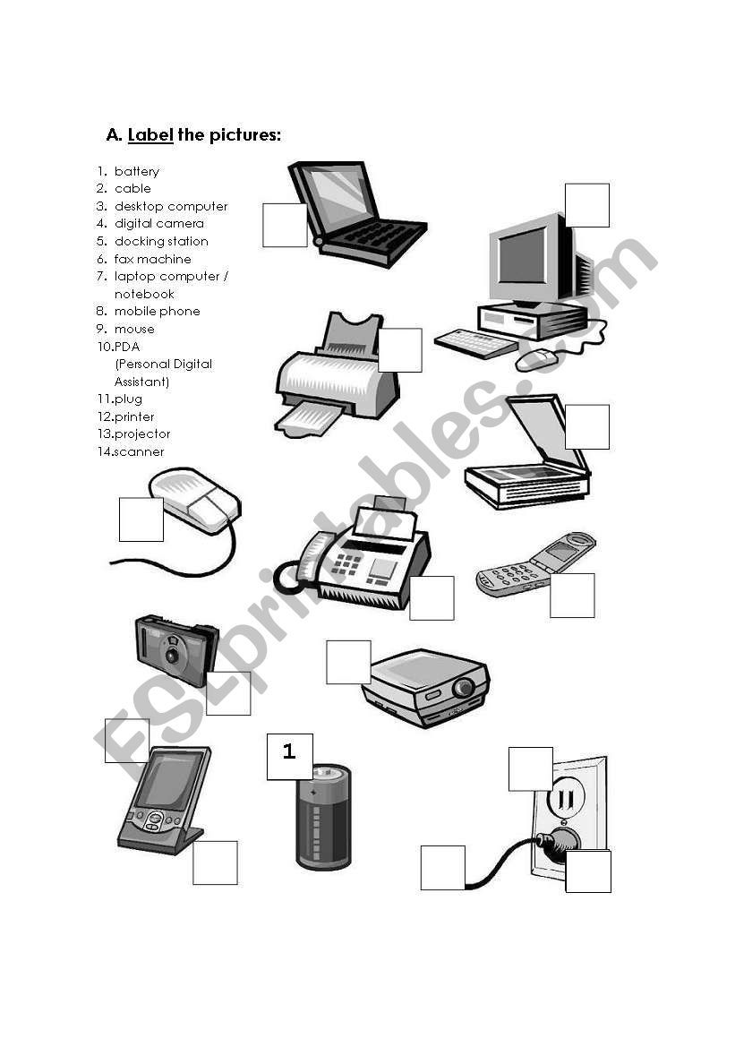 Computer Hardware Vocabulary And Verbs Related Teaching