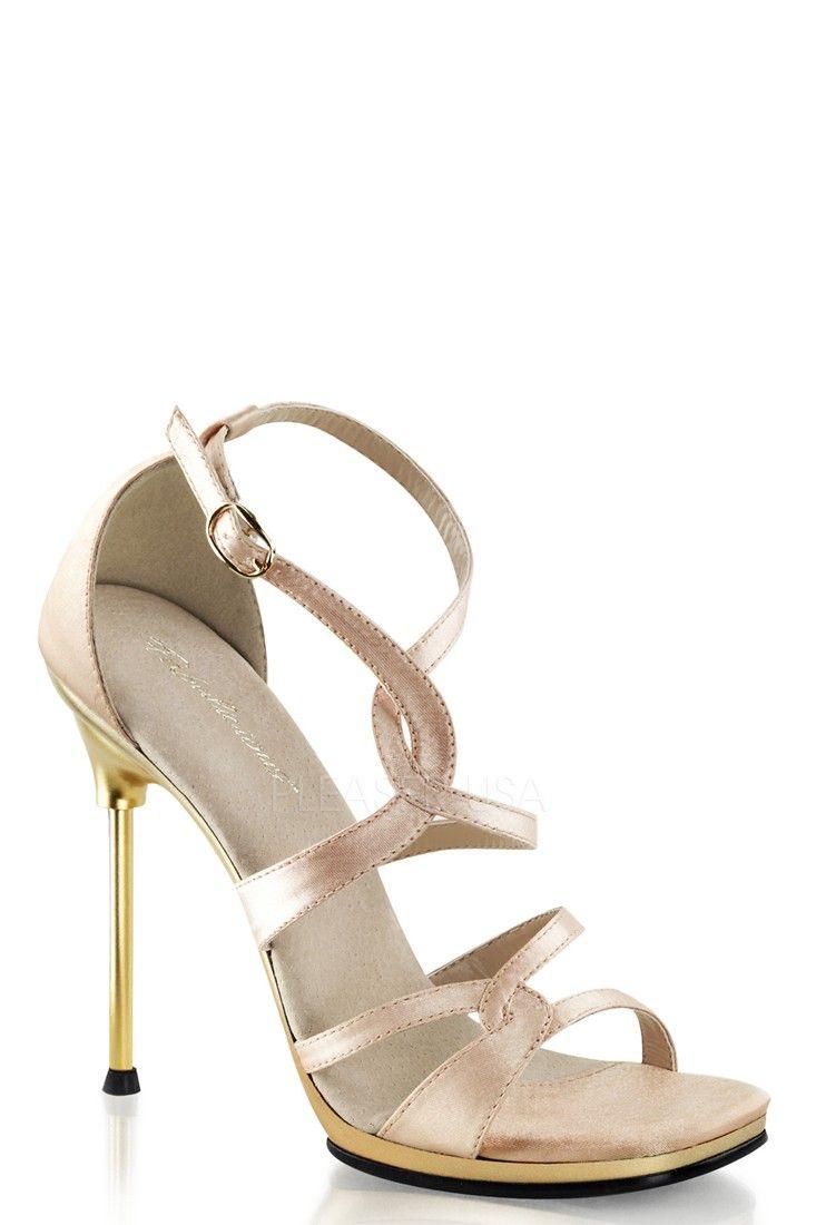 23a5af1d Closed Back Strappy Criss Cross Ankle Sandal Heels. nude Satin/gold Matte,  4 1/2 in. Heel, 1/4 in. Platform.