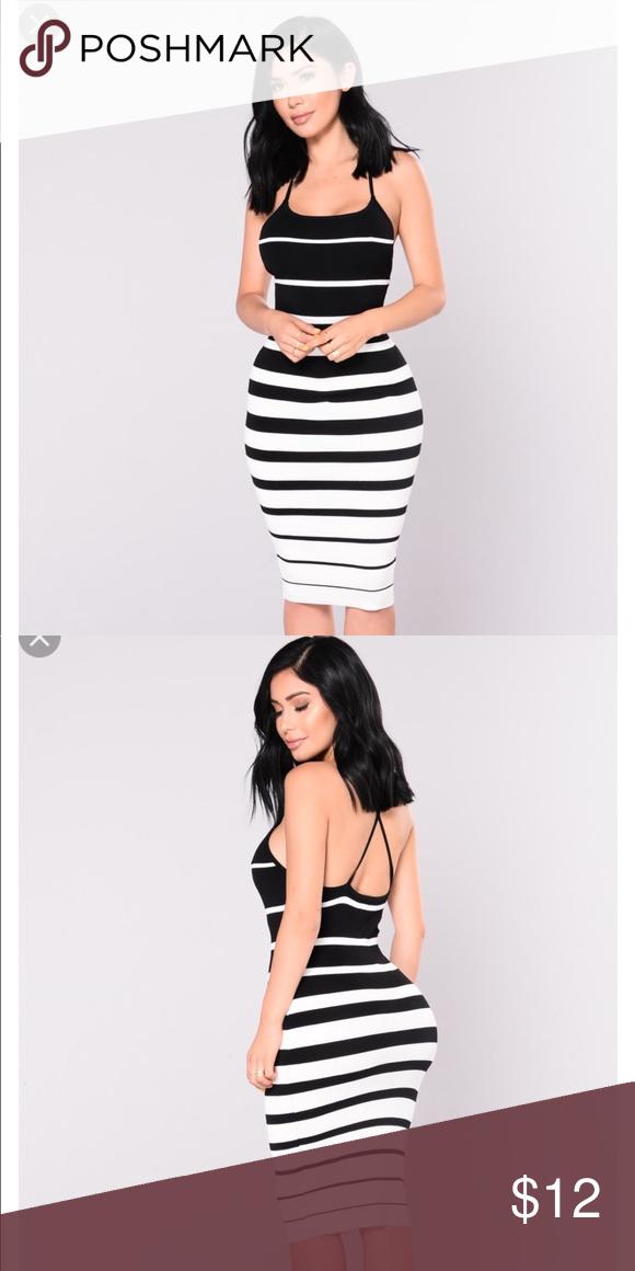 6e3c8de3d57 Fashion Nova Enzo Black   White Striped Knit Dress New without tags. Never  worn. Fashion Nova Dresses
