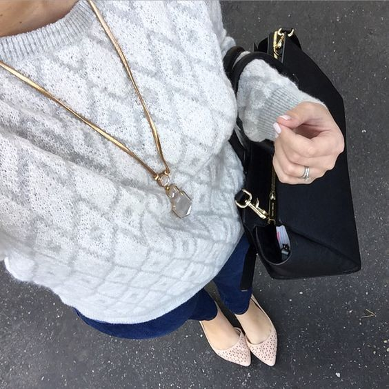 Loft cozy sweater with express jeans and nude flats. Casual style