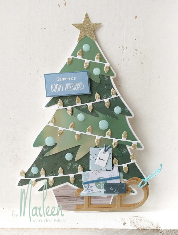 Craft stencil PS8046 - Christmas tree by Marleen | MD november 2019 | Hobbykaartenpetra #kerstboomversieringen2019