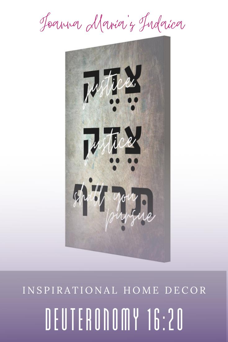 Justice Shall You Pursue Hebrew Bible Quote Dark Canvas Print Zazzle Com Biblical Art Hebrew Bible Bible Quotes