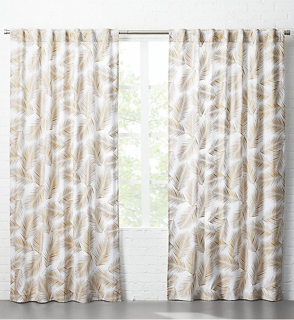 Shine Thru White Cotton Curtain Panels Drape Naturally As Light Shines Through Scattered Metallic Palm Leaves Pattern D Leaf Curtains Curtains Panel Curtains