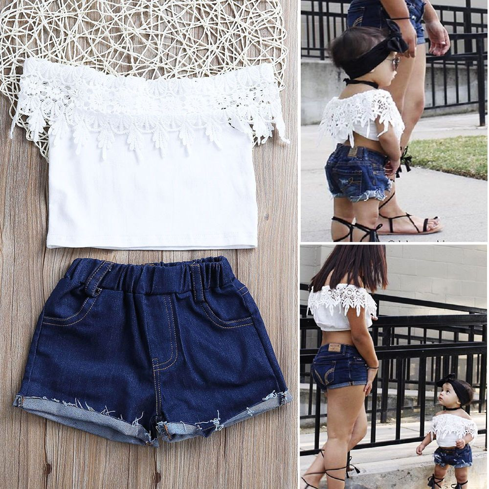 Cute Toddler Kids Girls Off Shoulder Lace Tops Ripped Jeans Pants Stylish Set