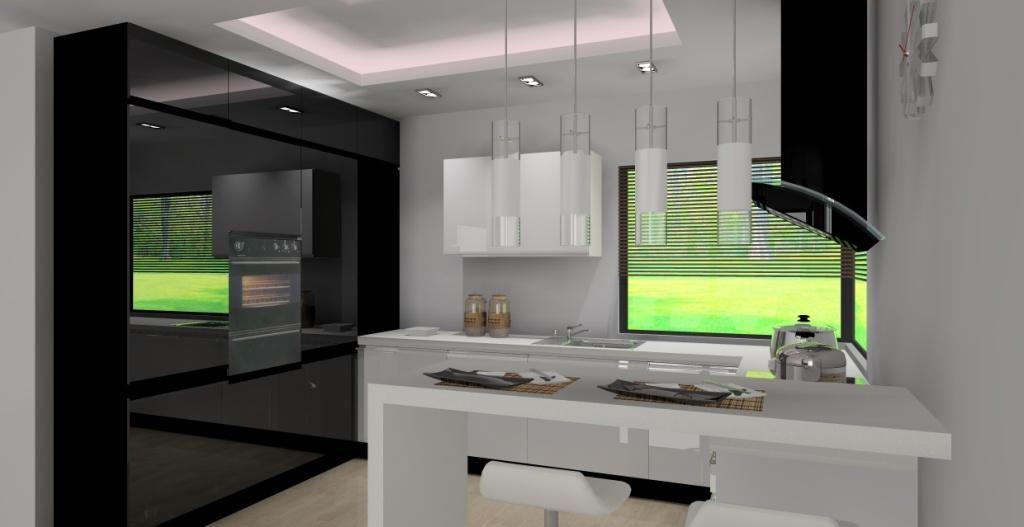 Kuchnia Z Barkiem Wystroj Nowoczesny W Kolorze Bialy Czarny Home Decor Lighted Bathroom Mirror Home