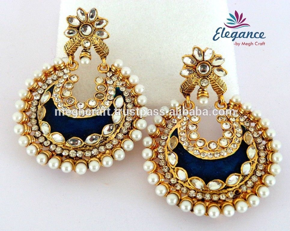 f247833f2 Wholesale Kundan Polaki Jhumka-meenakari Jhumka Earrings ...
