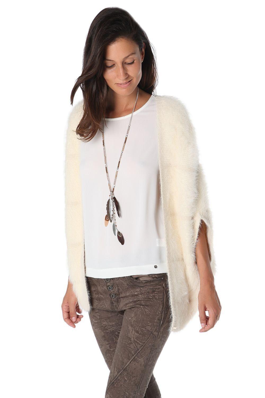 Cream supersoft faux fur cardigan