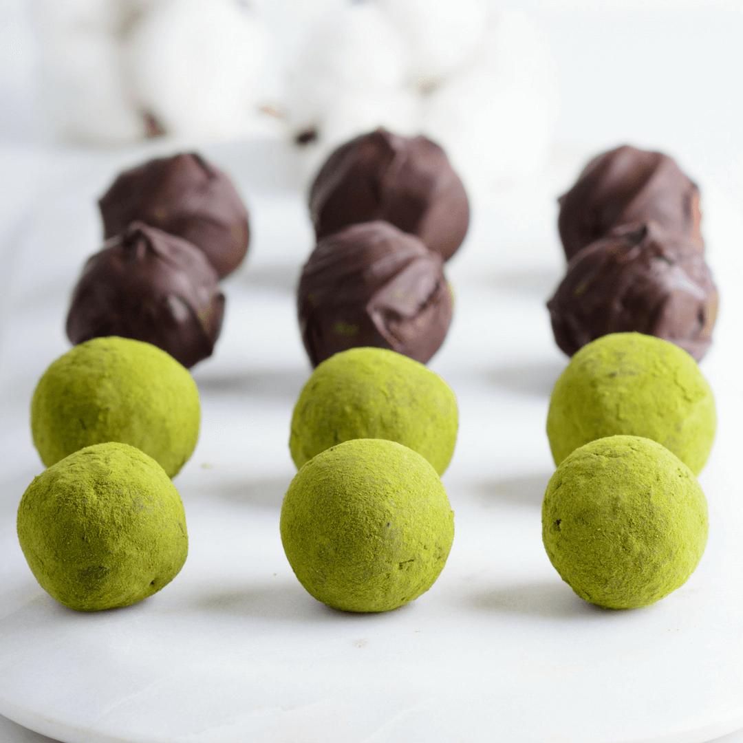Matcha Green Tea Powder And Dark Chocolate Truffles