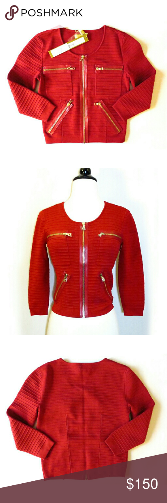 Catherine Malandrino Red Cropped Cardigan NWTs. See comments ...