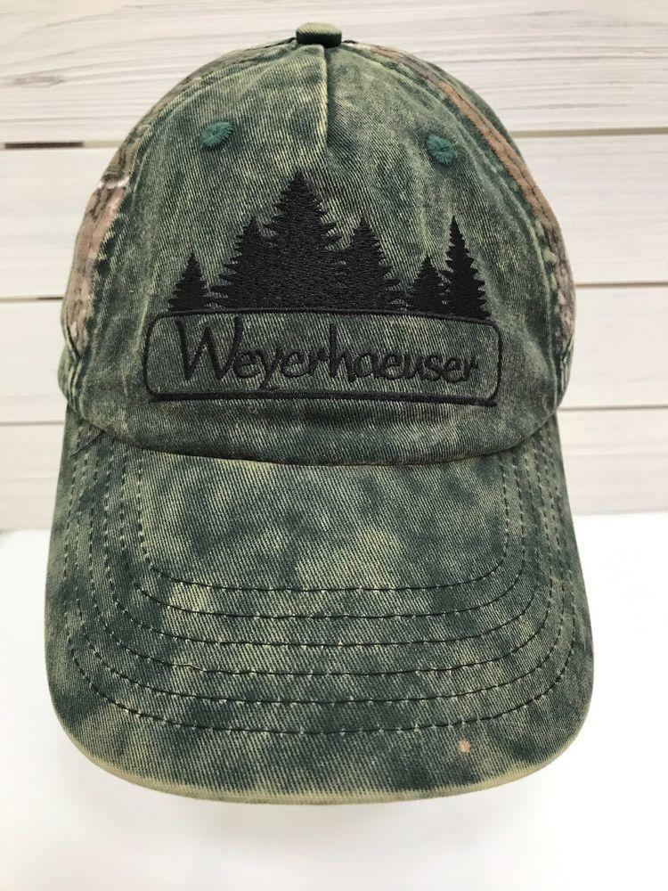 Weyerhaeuser Tree Lumber Camouflage Hat Strap Back Green Distressed Hunter   KProducts  BaseballCap e2868008780d