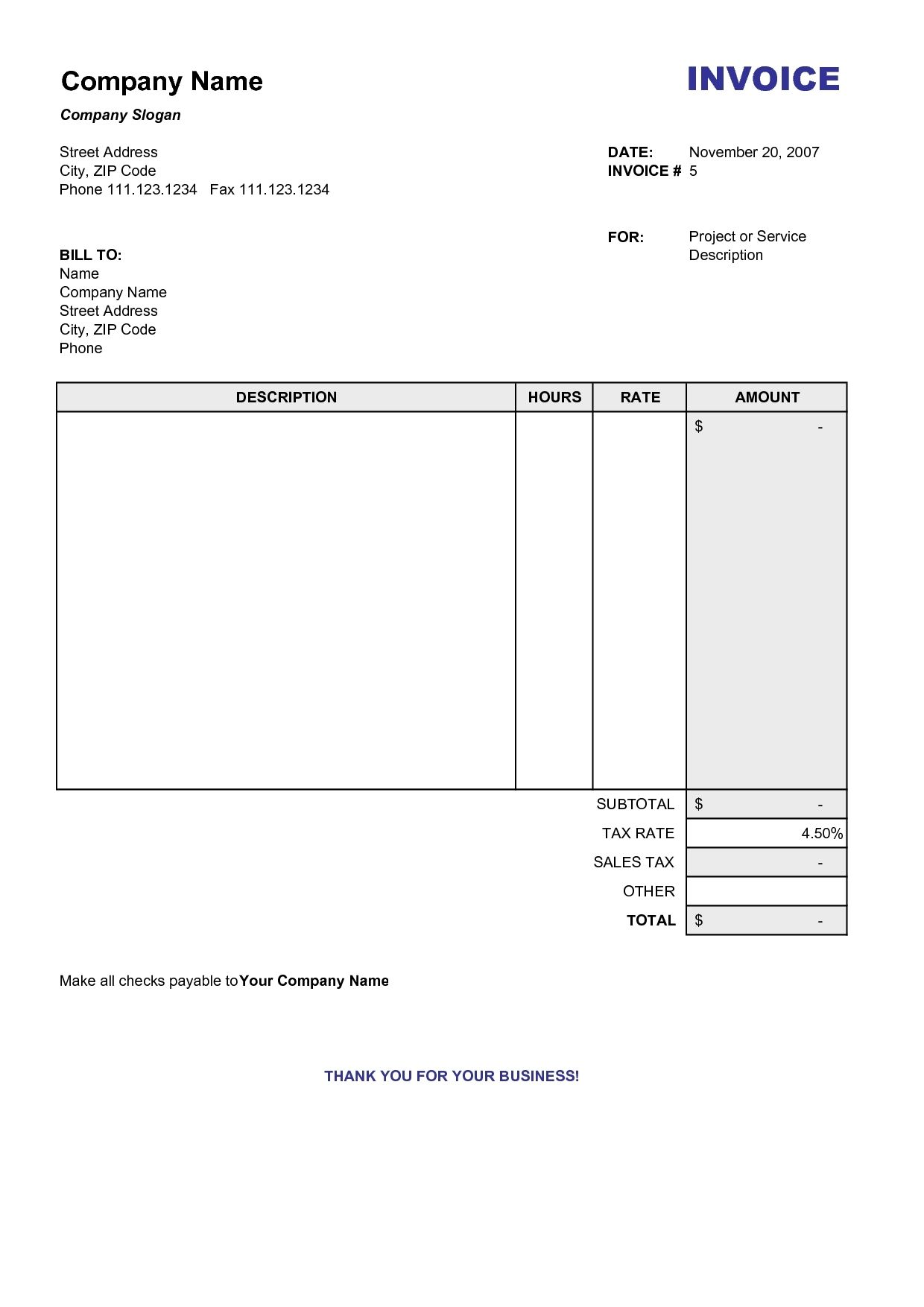 Copy Of A Blank Invoice Invoice Template Free Copy Of Blank - Free printable service invoices for service business