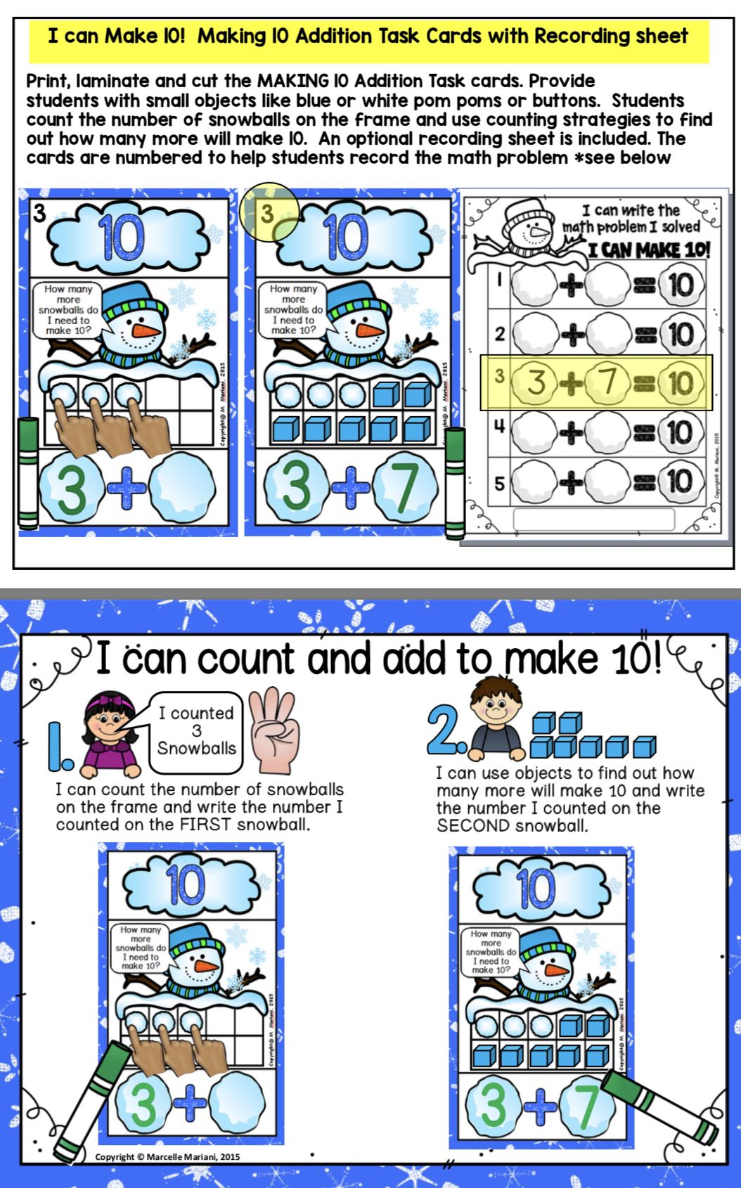 Snowball Sums Winter Math Centre Activities Addition To