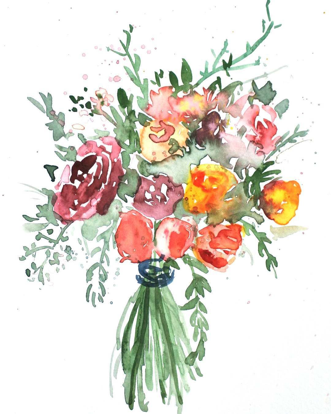 Illustration Watercolor Painting Flowers Bouquet Floral