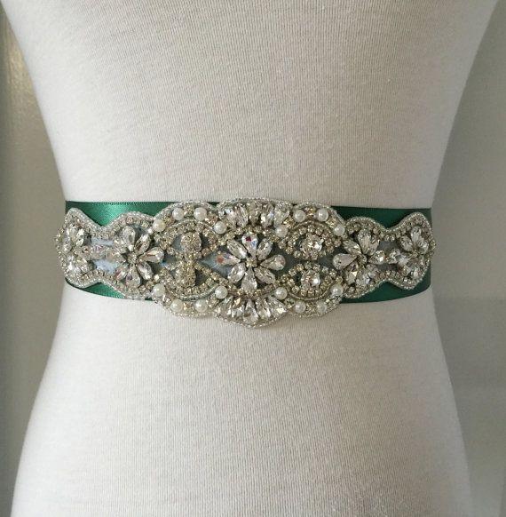 Emerald Green Sash-Green Belt-Bridal Sash-Crystal Sash-Wedding Belt-Rhinestone Sash-Bridal Belt-Wedding Sash-Pearl Applique Ribbon Sash