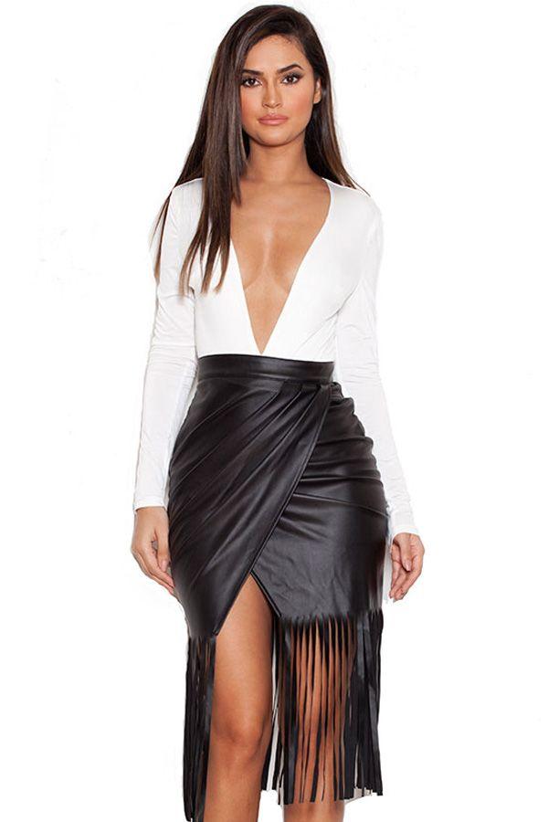 'Nicasia' Black Vegan Leather Fringed Wrap Skirt - SALE