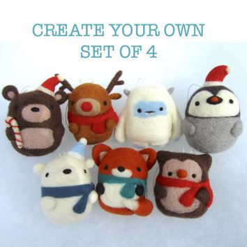 Christmas Decorations - Choose your own Set of 4, Needle Felted ...