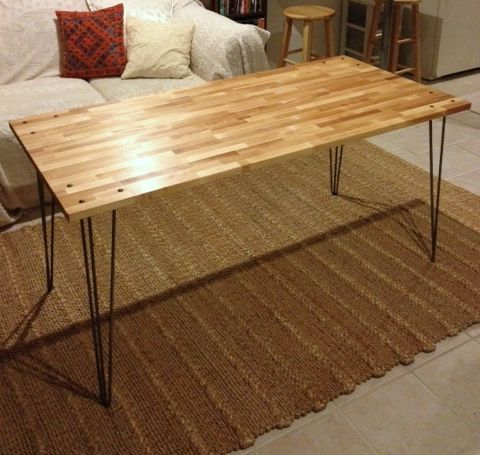 Make This Desk Ikea Gerton Tabletop 4 Hairpin Legs 200 Redesign Furniture Cheap Dining Tables Fixtures Diy