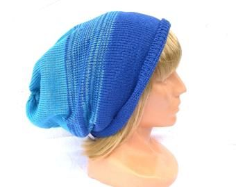 knitted wool beanie, knit blue winter hat, colorful cap, striped cloche, slouche