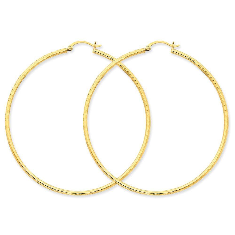 14k Diamond-cut 2mm Round Tube Hoop Earrings