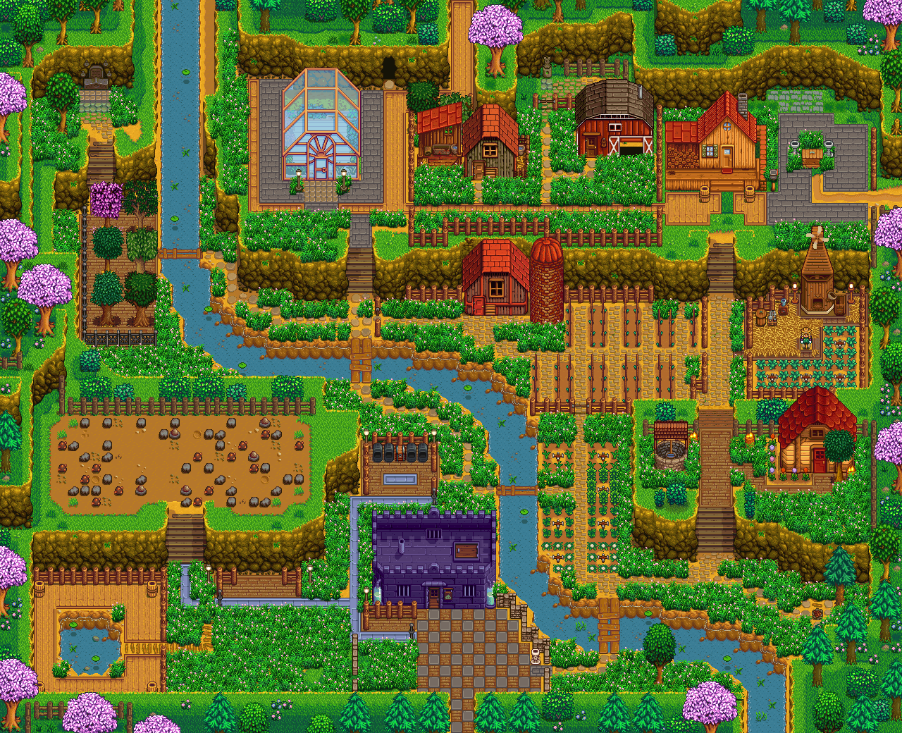 Hill Top Farm Spring Png 1280 1040 Stardew Valley Stardew Valley Farms Stardew Valley Layout