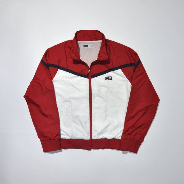 24302924e9e29 liked on Polyvore featuring activewear, activewear jackets, vintage track  jacket, track jacket, fila activewear, tracksuit jacket and warm up jackets